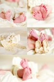 Infant's feet collage — Stock Photo