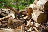 Hache et morceaux de bois — Photo