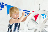 Cute little sailor posing — Stock Photo