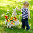 Cute little boy watering colorful flowers — Stock Photo