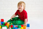 Little boy with toy blocks — Stock Photo
