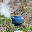 Boling kettle in outback setting — Stock Photo