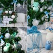 Christmas tree and ornaments in blue and mint — Stock Photo