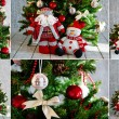 Christmas tree and ornaments in red — Stock Photo