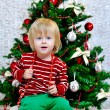 Stock Photo: Little boy preparing for Christmas holidays
