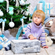 Toddler dreaming about Christmas — Stok fotoğraf