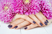 Hands with manicure and pink flower — Stock Photo