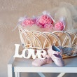 Still life with wooden love letters — Stock Photo