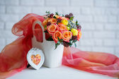 Still life with beautiful flower bouquet — Stock Photo