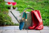 Regen laarzen en tuin gebruiksvoorwerpen — Stockfoto