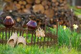 Tencere ve saman ayakkabı ile rustik görünümü — Stok fotoğraf