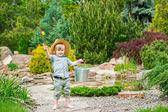 Kid on his way fishing — Stock Photo