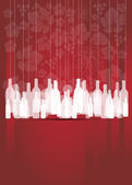 Wine red abstract background with bottles — Stock Vector