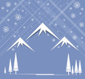 Christmas and happy new year background with mountain and sky sn — Stock Vector