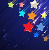 Vallende ster van de dageraad op de donker blauwe hemel — Stockvector