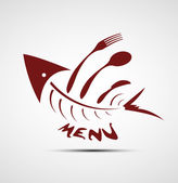 Abstract stylized fish menu for restaurant — Stock Vector