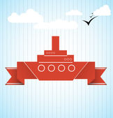 Ship with ribbon vector illustration — Stok Vektör