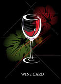Menú de concepto de carta de vinos con hojas de parra — Vector de stock
