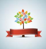 色 leafage と抽象近未来定型化されたツリー — ストックベクタ