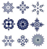 Set of blue snowflakes icon collection — Stock Vector