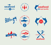 Set of vintage and modern seafood labels for restaurant and seaf — Stock Vector