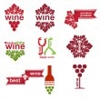 Set of vintage and modern wine elements labels for restaurant an — Stock Vector #14395733