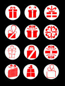 Set of gift boxes with red ribbon — Stock Vector