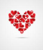 心のバレンタインの日カードで背景が大好き — ストックベクタ