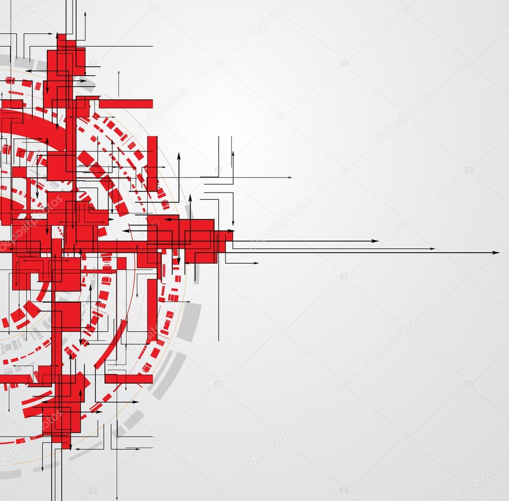 Abstract red rounded Technology circuit background vector ...