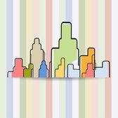 Expérience en affaires immobilières ville construite maison — Vecteur