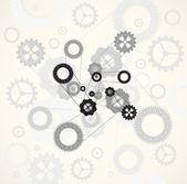 Engranajes de la tecnología de la máquina. fundamento del mecanismo de rueda dentada retro — Vector de stock