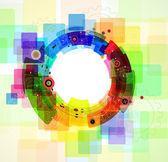 Barva pozadí abstraktní různých ozubených kol — Stock vektor