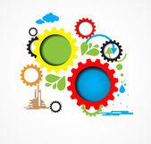 Machine technology gears. retro gearwheel mechanism bacground — Stock Photo