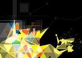 Black mesh triangle internet technology background super light s — Stock Vector