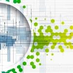 Abstract colour circle hexagon technology and development backgr — Stock Vector