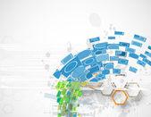 Abstract blue hexagon computer vector internet technology backgr — Stock Vector