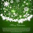 Christmas green background with light snow and place for your text — Stock Vector #7472030