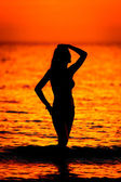 A beautiful Girl on the background of Golden sunset on a sandy beach on the shore of the sea — Stock Photo