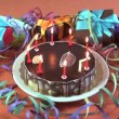 Stock Video: Birthday cake with flares