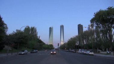 Two skyscrapers at Madrid — Stock Video