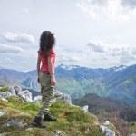 Постер, плакат: Side trekking woman at Picos de Europa