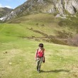 Walking up on meadow at Picos de Europa — Stock Photo