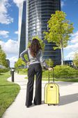 Businesswoman stands with suitcase — Stock Photo