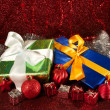 Christmas green and blue gifts — Stock Photo