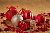 Christmas on golden textured background — Stock Photo