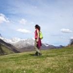 Side walking on prairie at Picos de Europa — Stock Photo