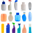 Collection of plastic and glass bottles - Stock Photo