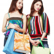 Two young women with shopping bags — Stock Photo #12371893