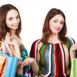 Two young women with shopping bags — Stock Photo #12371895