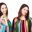 Two young women with shopping bags — Stock Photo